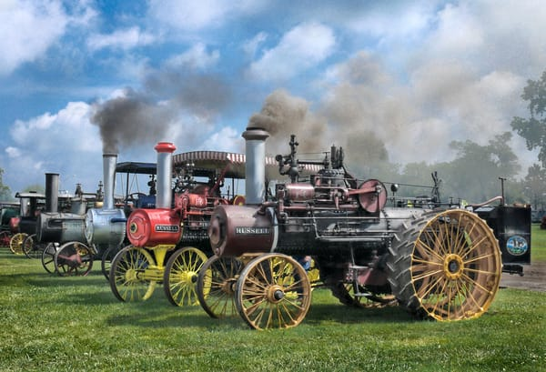 Row of Russell Steam Powered Traction Tractors Farm Restored fleblanc