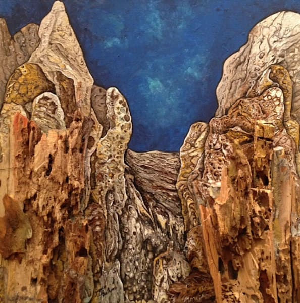 Gayle Faulkner's Majesty is a creative representation of the mountainous landscape around the world.
