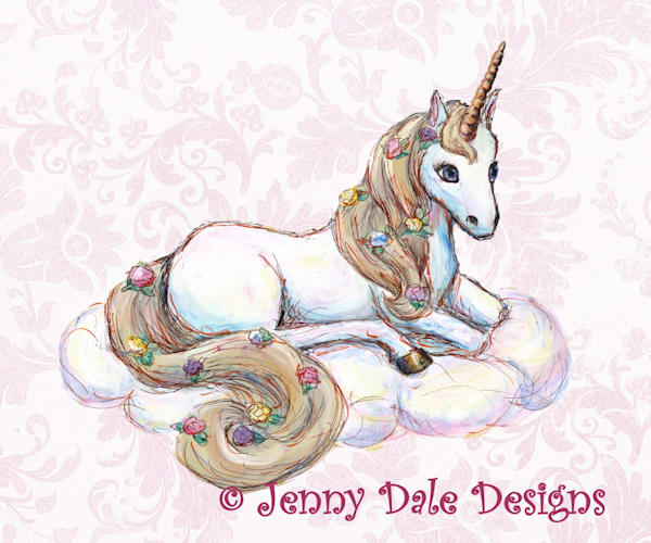 Sitting Unicorn with pink floral background