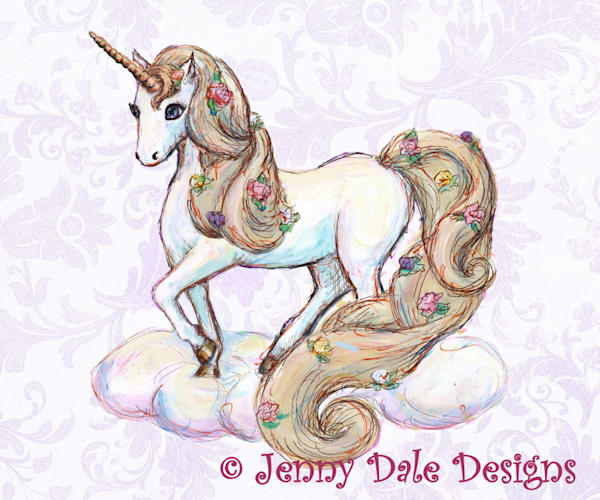 Unicorn Standing Purple Background