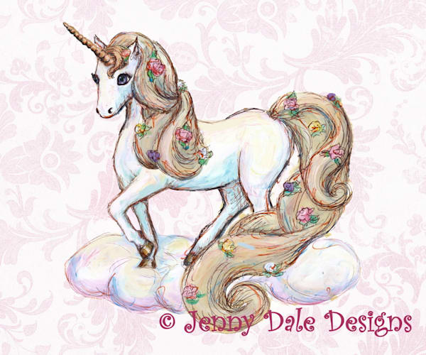 Unicorn Standing Pink Floral