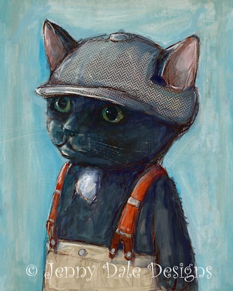 Cat In Vintage Newsboy Hat Art | Jenny Dale Designs
