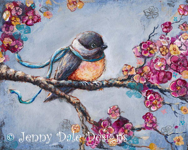 Chickadee with vintage floral