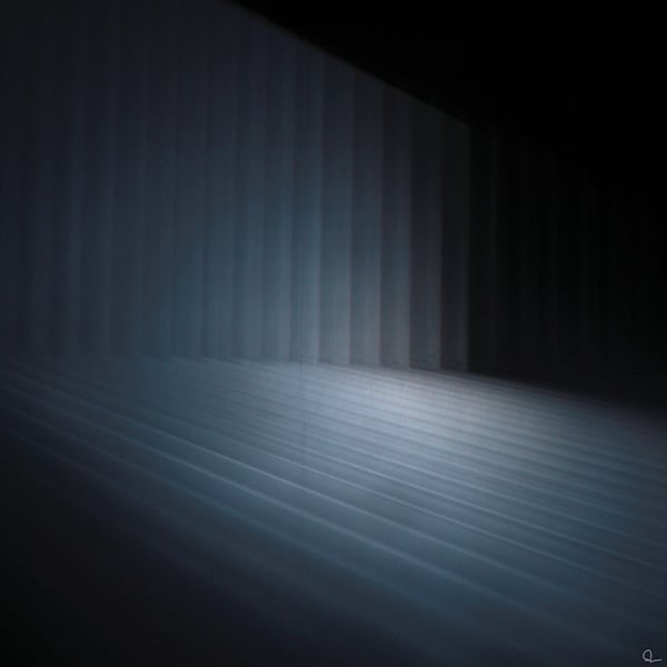 A fine art photograph of a moving light projection against a dark background. prints for sale by Michael Toole