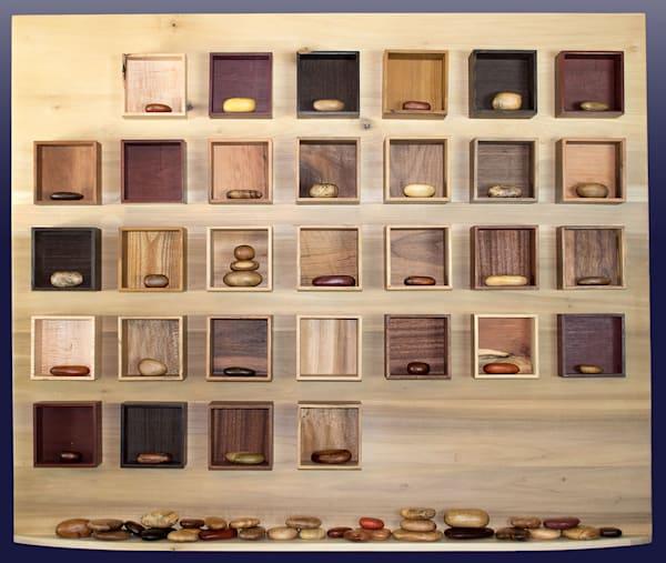 "Connections, 43"" x 52"" x 6.25"" original wood work by wood artist Jill Kyong."
