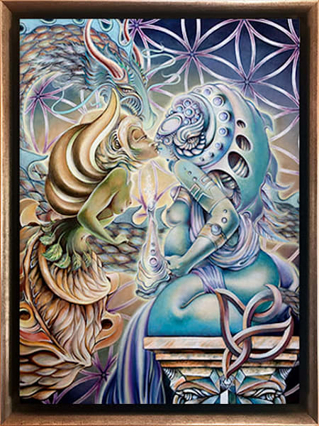 The Kiss of Motherpeace - Painting for Sale - Art by Ishka Lha