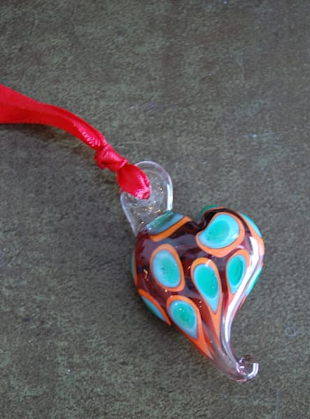 Glass Heart Necklace with Green/Blue Polka Dots, by glass jewelry artists Sage and Tom Holland.