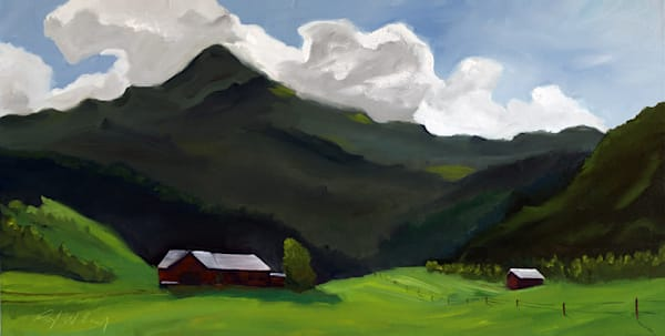 Swiss Mountains in Late Summer painting by Paul William | Fine Art for Sale