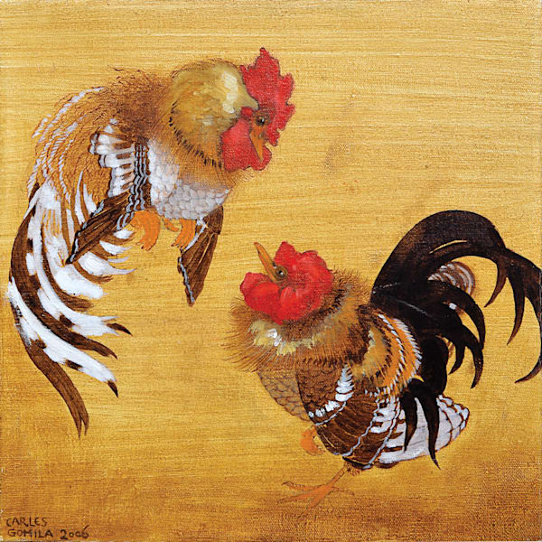 Gomila Two  Roosters Art | Pixel Mouse House LLC