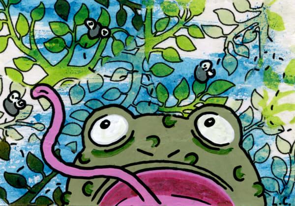 Snacking Frog Art | Laura Coffee