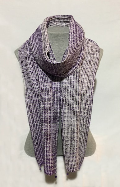 Buy Sandy Cahill's hand woven purple & white Euro Scarf