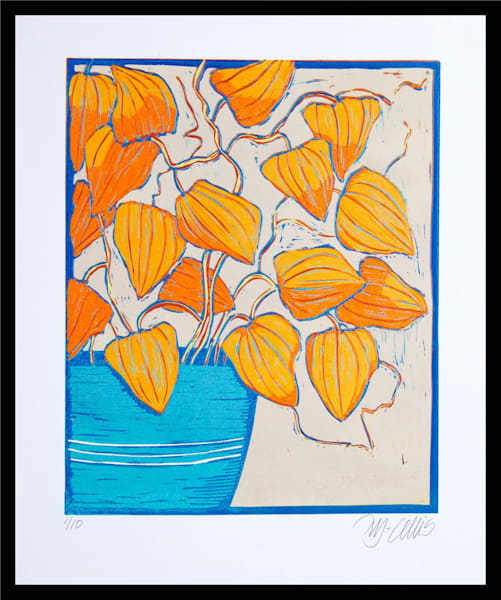 chinese lanterns, a linocut reduction print in vibrant blues and oranges by printmaker Mariann Johansen-Ellis, floral, art, paintings