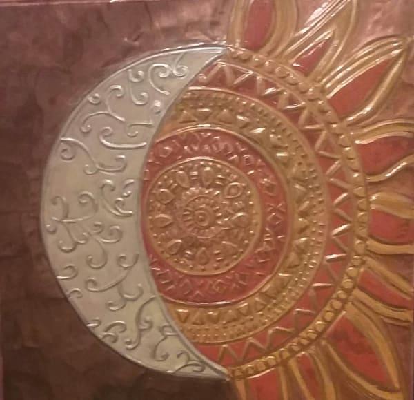 <SOLD> Sun & Moon Mandala Repoussé