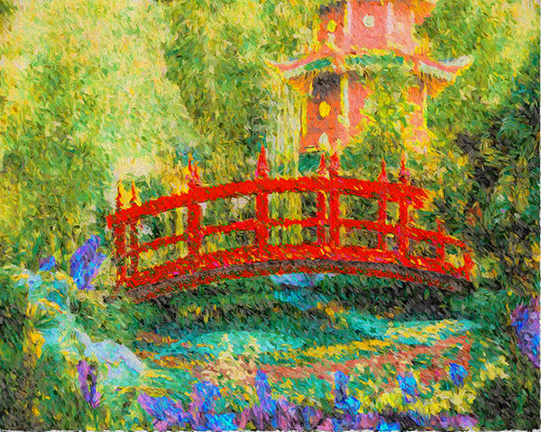 """Red Bridge, Japanese Garden"" Art 