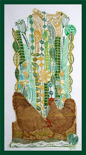 Spring chickens in green and yellow, a floral collage with hens, all done in linocut, by printmaker Mariann Johansen-Ellis, art, paintings