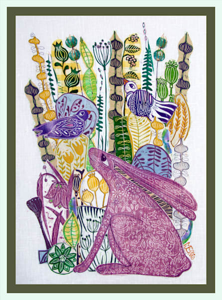 a violet little hare and new spring greenery, yellow flowers, a linocut collage, handprinted fabrics by Mariann Johansen-Ellis, art, paintings