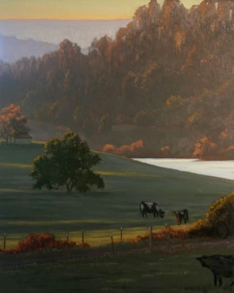 Cattle grazing in Sonoma County oil painting on canvas