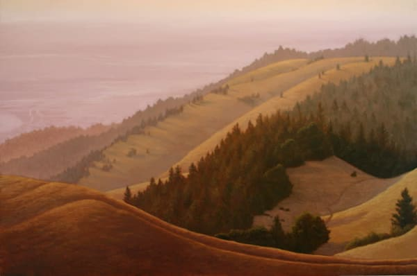 Northern California Landscape oil painting of the West Marin coastal hills
