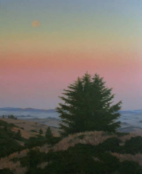 Moonrise, Sunset, Northern California landscape painting