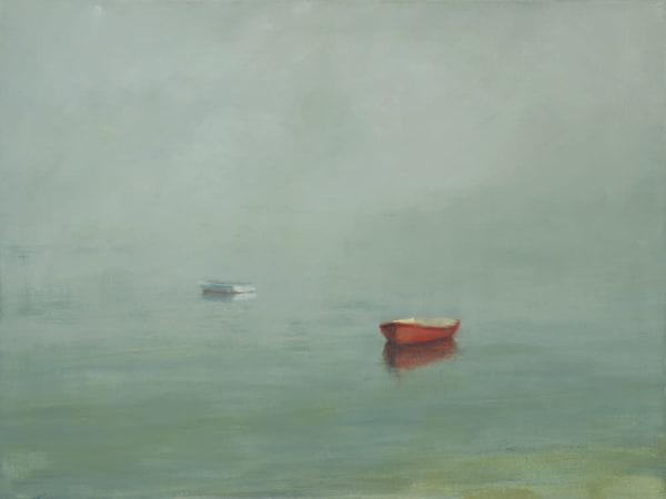 Anne Packard - Cape Cod Fine Art Prints on Canvas - Red Dory in the Mist