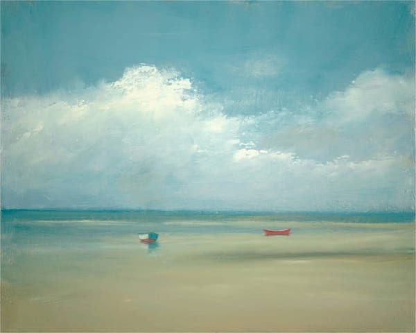 Two Boats At Low Tide - Giclée on canvas - Limited Edition - by Anne Packard