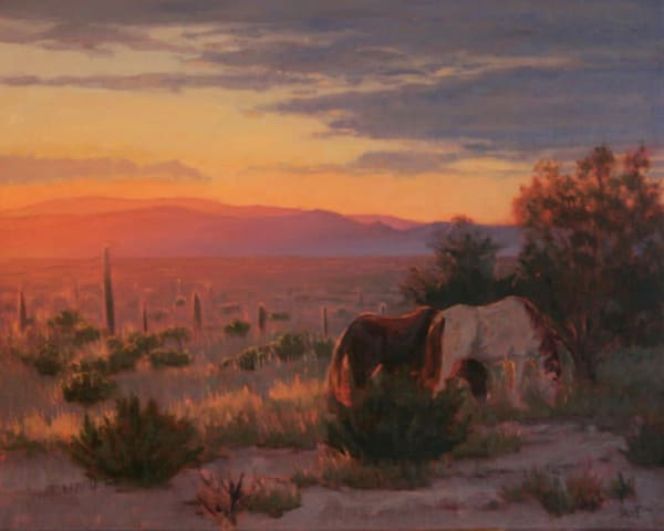 Horses at Sunset painting, New Mexico