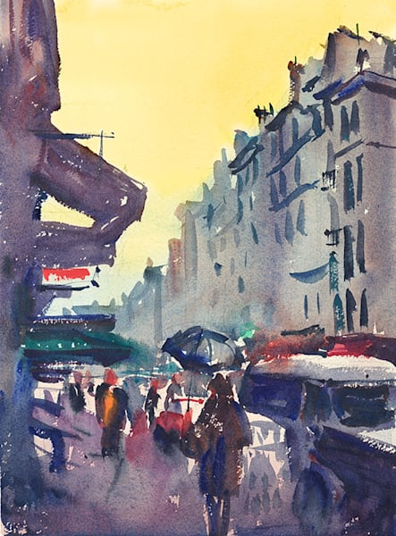 Rainy Paris Street fine art print by Bill Doyle.