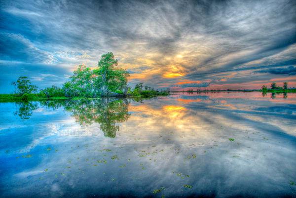 Lake Maurepas Blue sunset