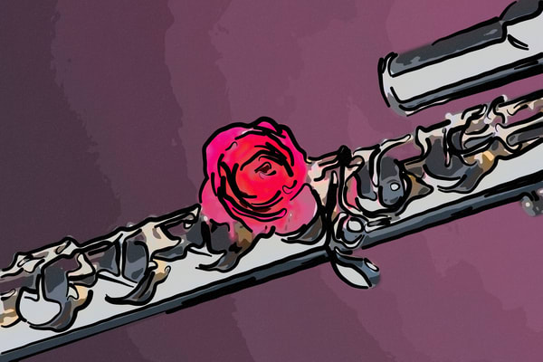 Flute and Red Rose Painting 8001.308