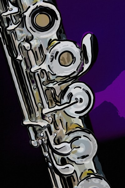 Purple Background Flute Painting 8001.334