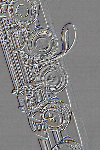 Flute G Key Metal Print Embossed Art 8001.411