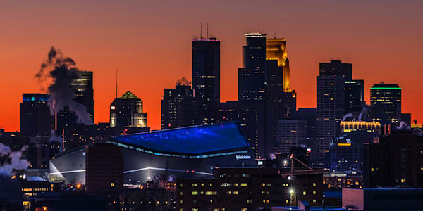 Super Bowl Minneapolis Sunset 2 - Minneapolis Wall Art | William Drew