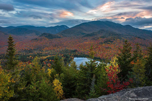 Picture of Heart lake from Mt Jo at sunset/Overlooking the Adirondacks during fall foliage Fine Art Prints
