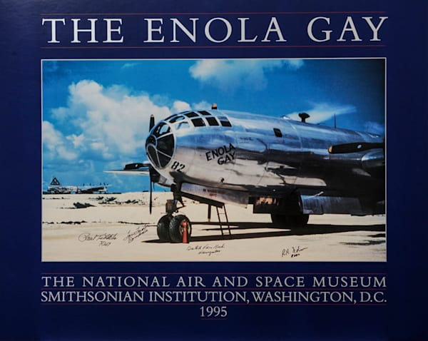Signed Enola Gay poster, four original crew members