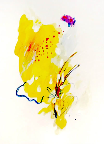 Yellow Bloom Abstract Painting on an Archival Paper by Artist Deepa Koshaley