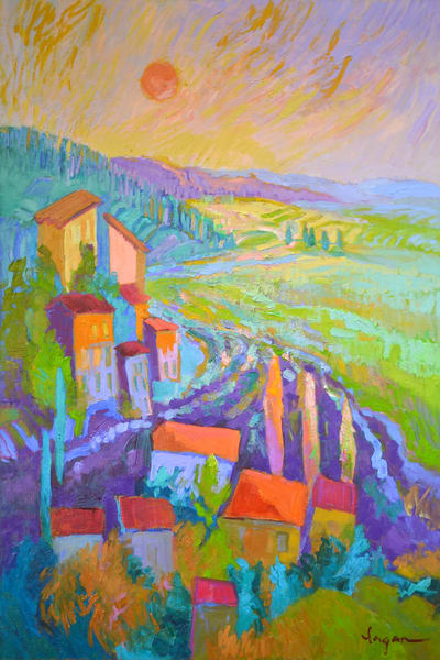 Colorful Contemporary French Landscape Art Print on Canvas or Watercolor Paper by Dorothy Fagan