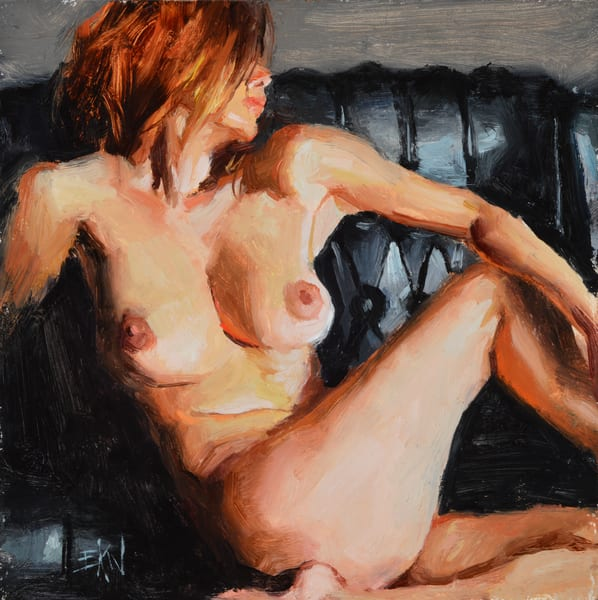 "Print of a nude painting by Eric Wallis titled, ""Nude on Black Leather."""