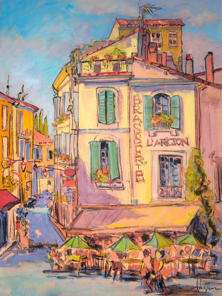 Colorful French Street Scene Art Print on Canvas, L'Aficion by Dorothy Fagan