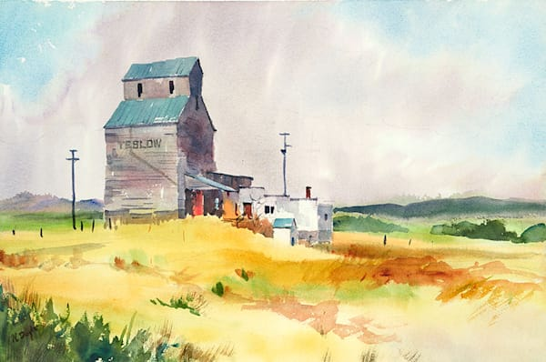 Teslow Grain Elevator fine art print by Bill Doyle.