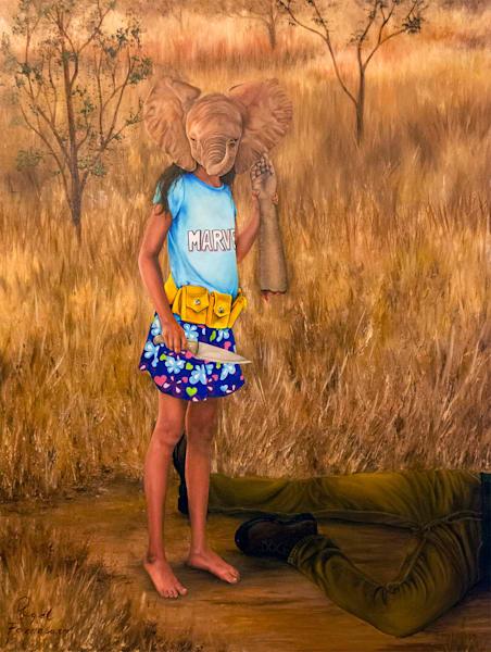 Shop Raquel Fornasaro Trophy Hunting Contemporary Art Original Portrait on Canvas