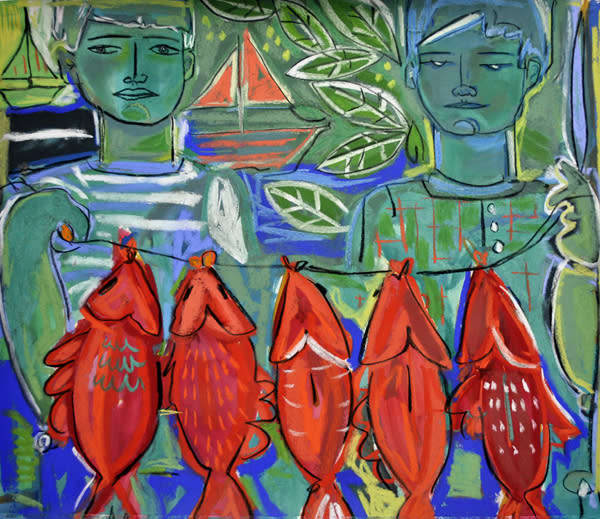 Boys of summer original mixed media painting