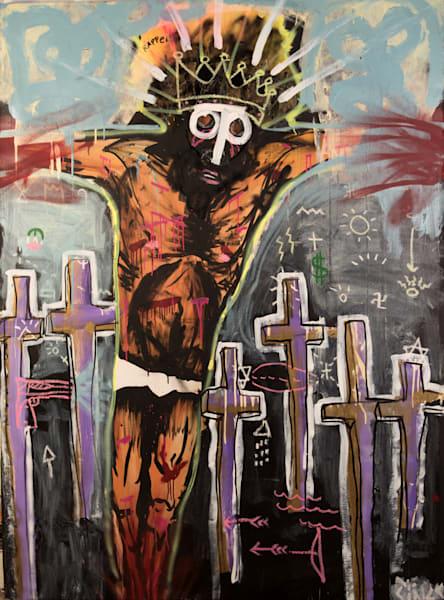 Jesus Piece Original Painting by Brandon Sines on Wet Paint NYC - Jesus Art - Jesus Painting - Crucifixion Painting
