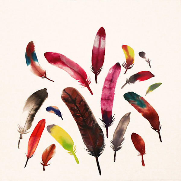 Feathers 4 Zen Ink Painting by Michael Serafino Available for Purchase at WetPaintNYC.com - New York Artist - Meditation and Yoga Art - Zen Painting
