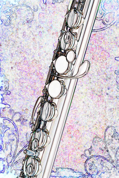 Alto Flute Music Wall Art Drawing 8001.603