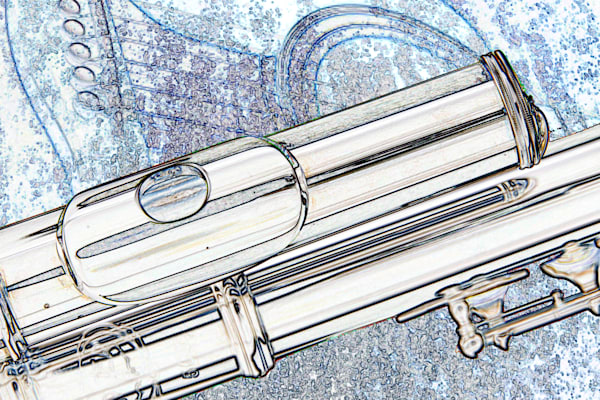 Alto Flute on Guitar Canvas Print Drawing 8001.604
