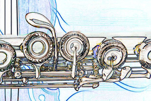 Flute on Violin Wall Art Drawing 8001.614