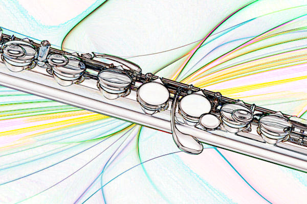 Modern Flute Canvas Print LIght Drawing 8001.620