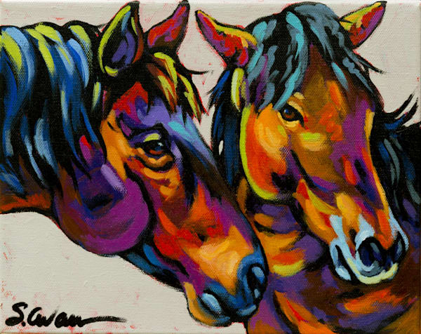 Sally Evans Painting two Horses