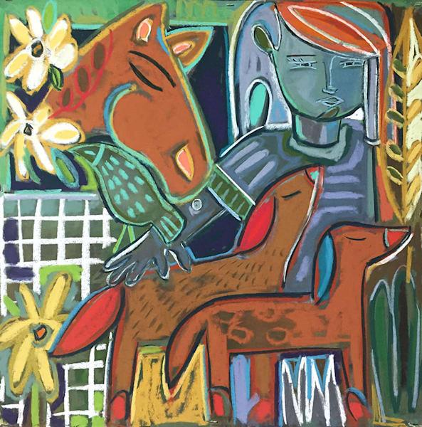 Menagerie original mixed media painting