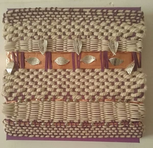 Artisan Weaving in Amethyst and Ivory. Hand Woven Art.